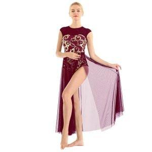 Wine Red Dance Costume