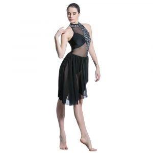 Black mesh dance costume